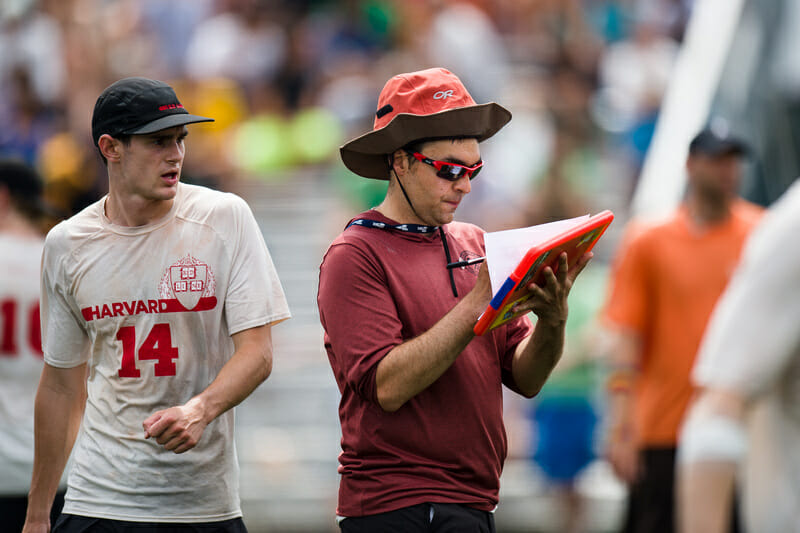 Harvard coach Mike Mackenzie keeping stats at the 2016 College Championships. Photo: Kevin Leclaire -- UltiPhotos.com