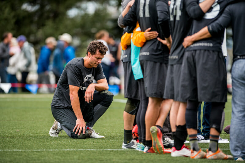 Beau Kittredge reflects after losing on double game point in the 2016 Club Championships final. Photo; Taylor Nguyen -- UltiPhotos.com