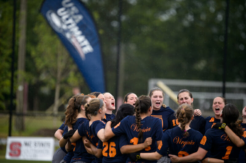 Virginia Hydra at the 2016 College Championships. Photo: Paul Andris -- UltiPhotos.com