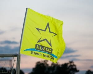 All-Star Ultimate Tour flag flapping in the wind. Photo: Kevin Leclaire -- UltiPhotos.com