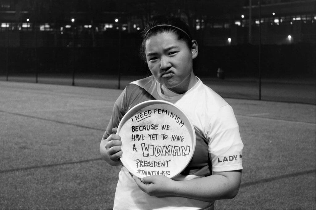 "Apryl Hsu of the Boston University Lady Pilots, who suggested the ""I Need Feminism Because..."" photo campaign."