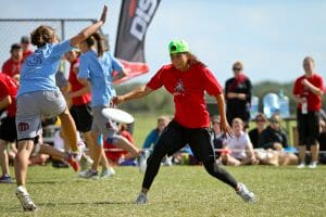A Fury mark gives up an upwind huck opportunity. Photo: Christina Schmidt -- UltiPhotos.com