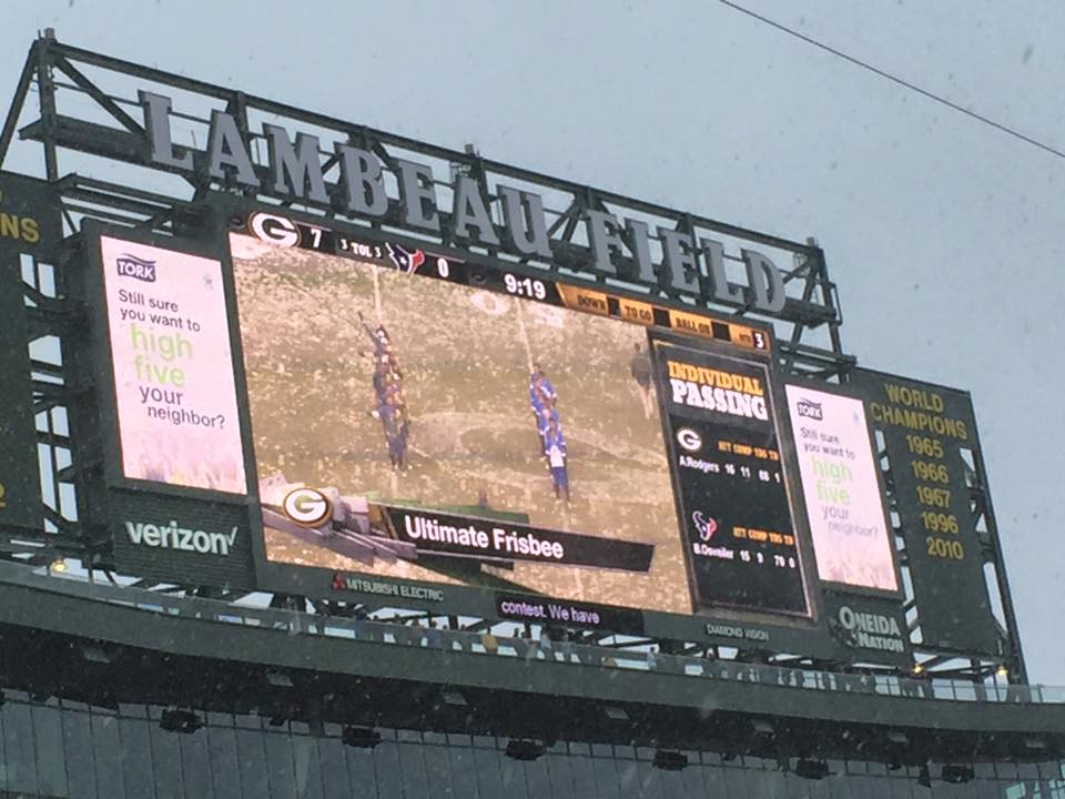 The Packers' scoreboard during halftime. Photo: AUDL.