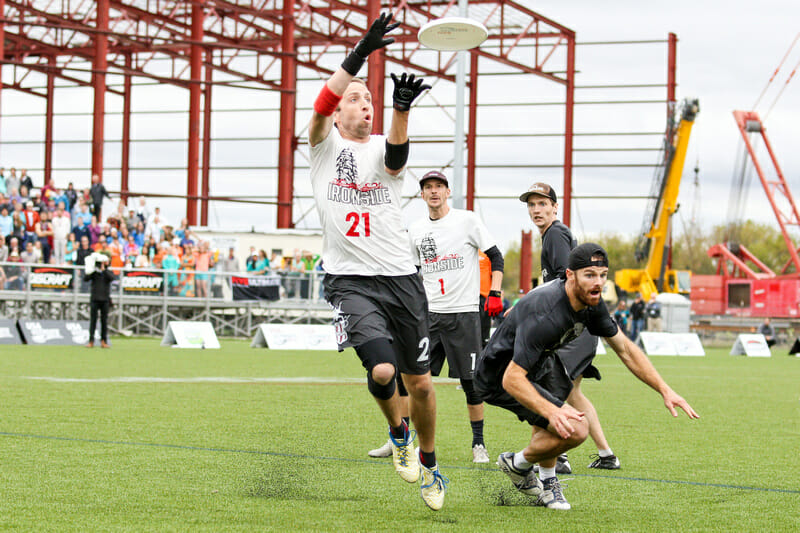 Jeff Graham scores the game-winning goal in the 2016 Club Championships final. Photo: Paul Rutherford -- UltiPhotos.com