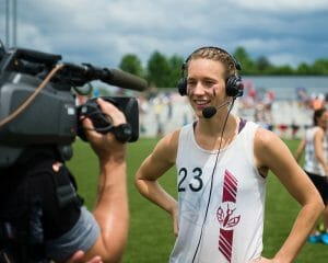 Stanford's Courtney Gegg is interviewd by ESPN during a 2016 Nationals broadcast.