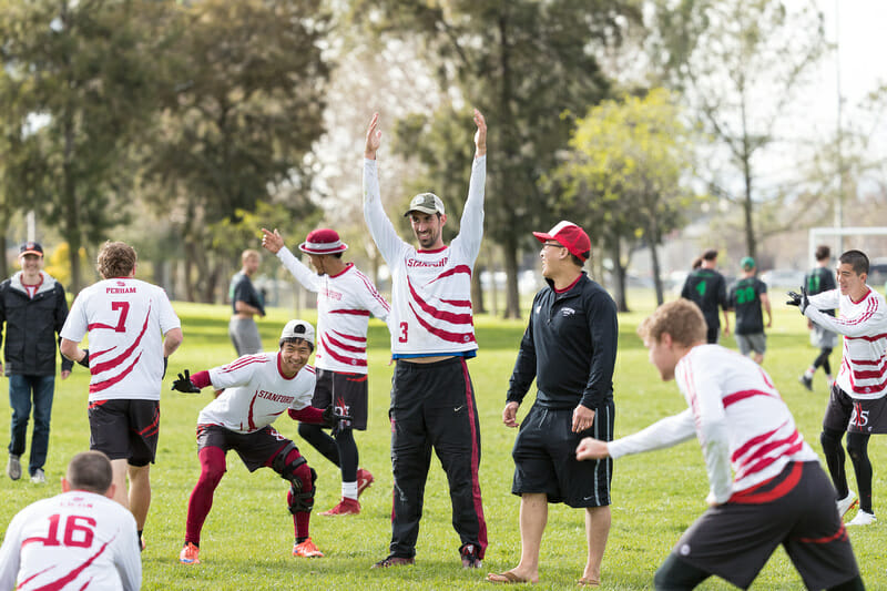 Stanford Bloodthirsty celebrates with a freeze frame at the 2017 Stanford Invite.