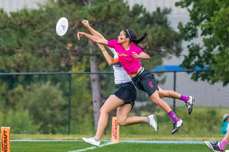 Revolution's Manuela Cardenas gets the huge layout block vs. Molly Brown at the 2017 US Open. Photo: Rudy Desort -- UltiPhoto.com