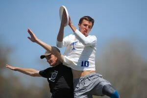 Carleton's Henry Fisher makes one of his many plays in the air in the final of Easterns 2018.