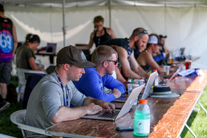 Ultiworld staff at the 2018 D-I College Championships.