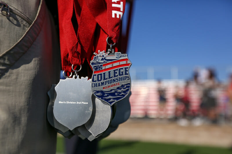 The D-I College Championships medals.