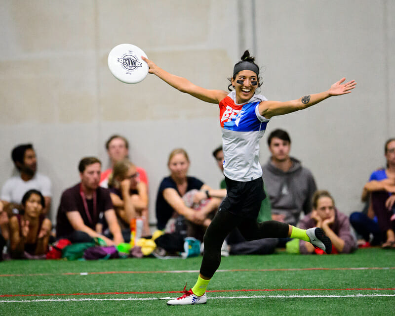 Seattle BFG's Rena Kawabata celebrates a goal during the mixed division final of WUCC 2018.