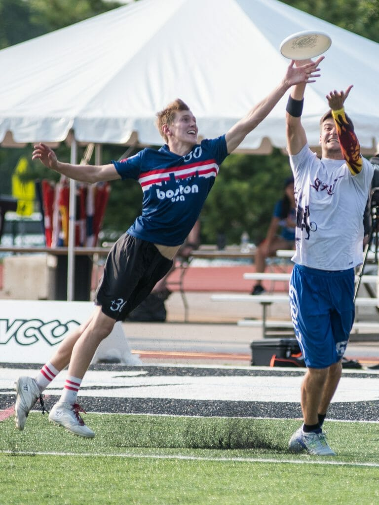 Kyle Johnson, #30 Wild Card (USA Mixed) bids for the block - GRUT (Netherlands Mixed) vs Wild Card (USA Mixed) - Pool Play at the World Ultimate Club Championships.