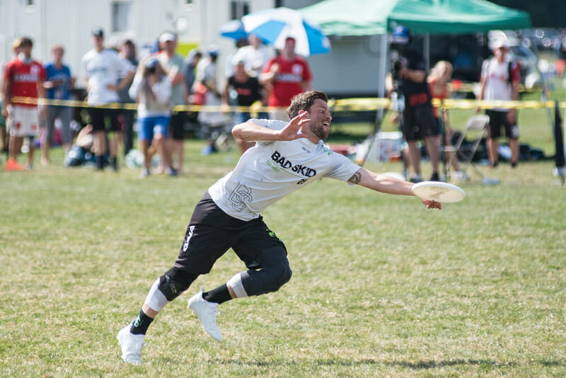 Bad Skid (GER) laying out at WUCC 2018.