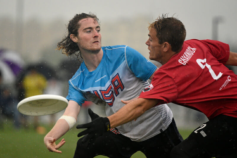 The U.S. U20 National Team's Johnny Malks throws past a Canadian mark in the gold medal game at WJUC 2018.