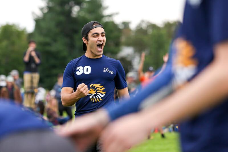 PoNY's Alex Ladomatos celebrates at 2018 Northeast Regionals.