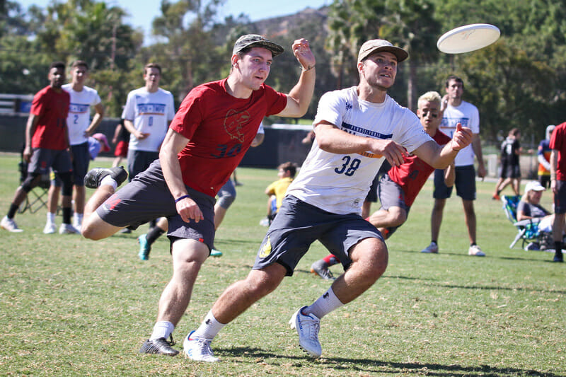 Sockeye's John Randolph defender Temper handler Jonah Wisch at the 2018 club National Championships.