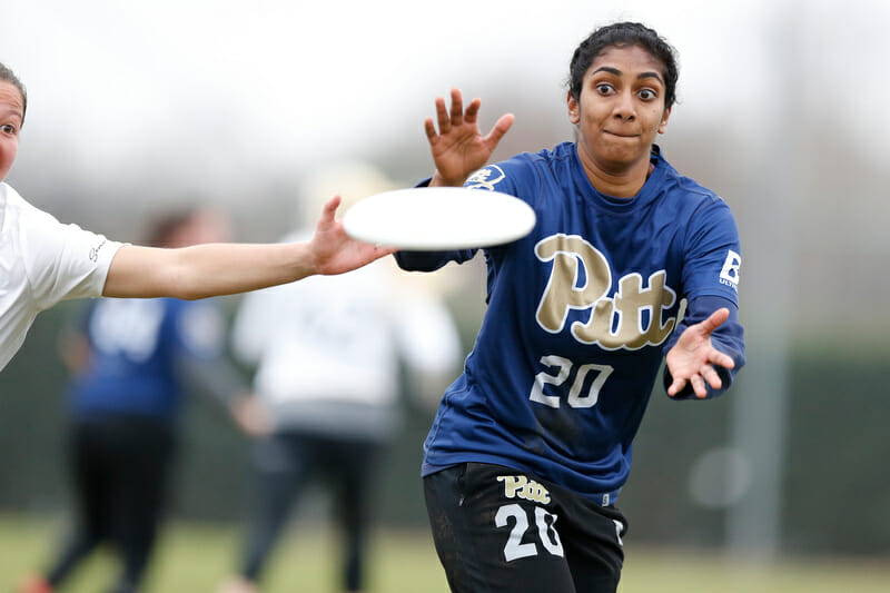 Pitt's Lakshmi Ilango tries to make a contested catch in the final against UNC at Queen City Tune Up 2019.
