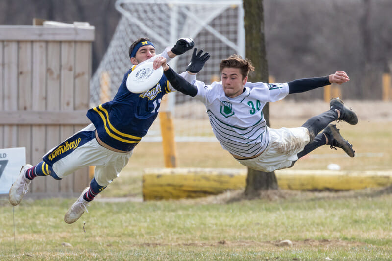 Ohio and Marquette players fly through the air at CWRUL Memorial 2019.