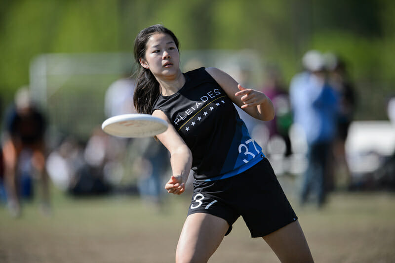 UNC's Anna Xu tosses a forehand at Atlantic Coast Regionals 2019.