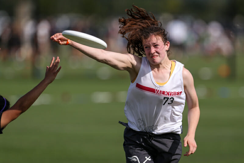 Northeastern's Clara Stewart uncorks at backhand on Day 1 of Nationals.