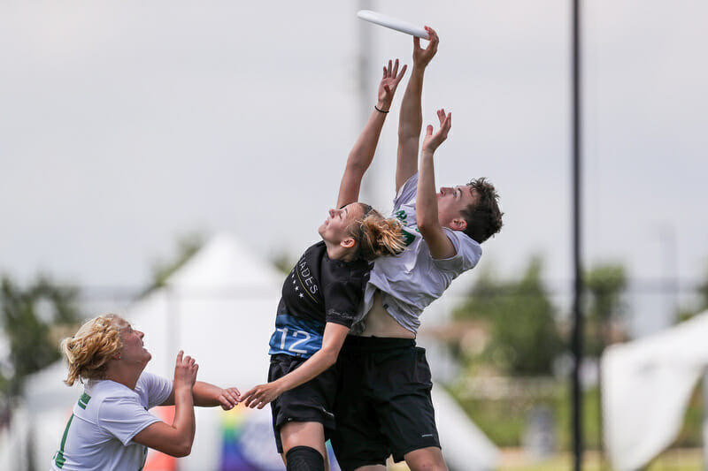 Dartmouth's Claire Trop skies the defense in the semifinals at the 2019 D-I College Championships.