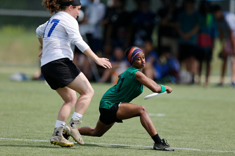Oberlin's Helen Samuel steps around the mark in the 2019 D-III women's championship game.