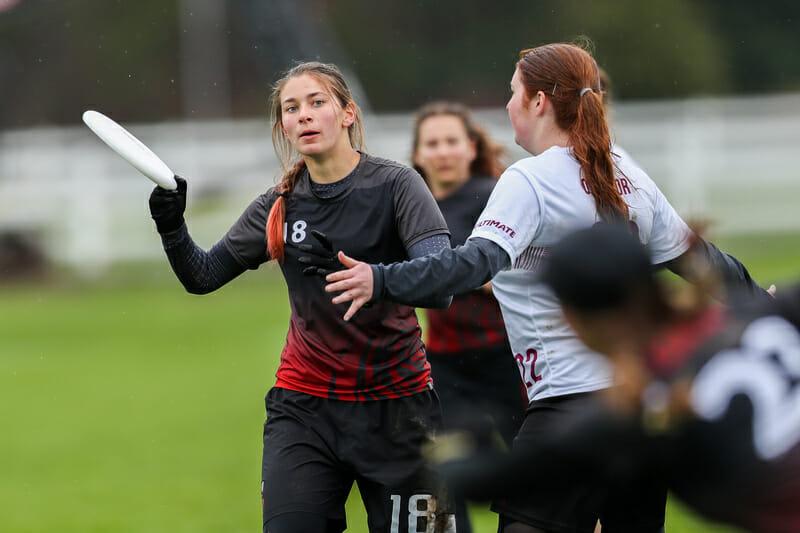 Cornell's Rachel Hidek looks past her Ottawa mark at Metro East Regionals 2019.