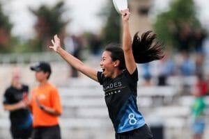 North Carolina's Alice Wang cheers at the D-I College Championships 2019.
