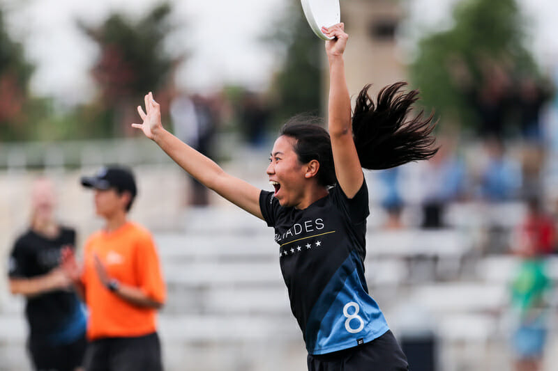 North Carolina's Alice Wang cheers at the D-I College Championships 2019.