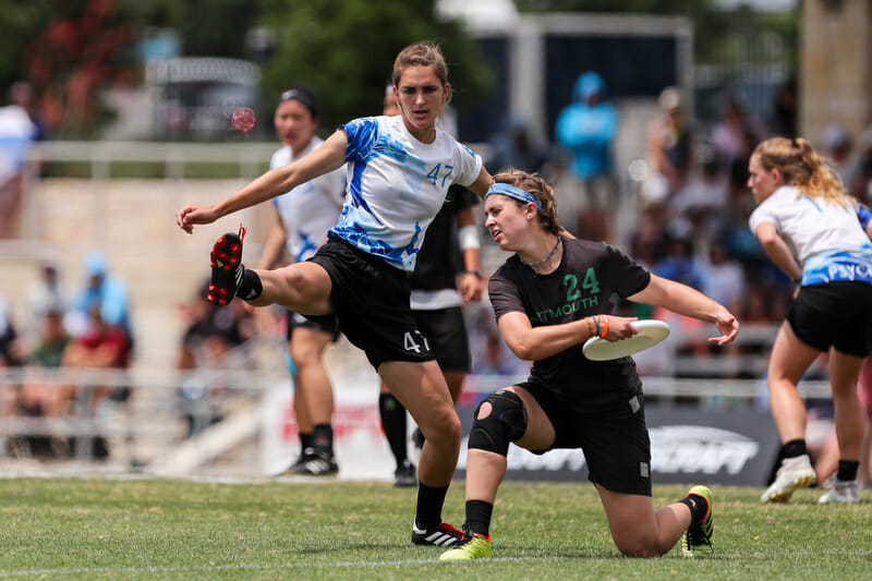 Dena Elimelech got a lot of blocks and altered a lot of throws with her feet at the 2019 D-I College Championships. Photo: Paul Rutherford -- UltiPhotos.com