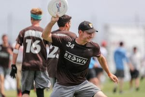 ROUND ROCK—John Randolph (Brown) celebrates during the 2019 D-I Men's Championship game. Photo: Paul Rutherford–Ultiphotos.com