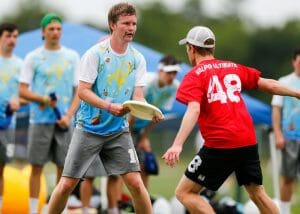Richmond's Chris Selwood at the 2019 D-III College Championships. Photo: William 'Brody' Brotman -- UltiPhotos.com