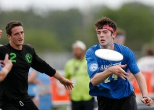 Franciscan's Louis Heisler (left) against Hamilton at the 2019 D-III College Championships. Photo: William 'Brody' Brotman -- UltiPhotos.com