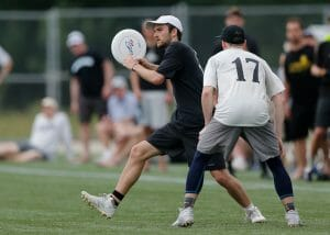 Bowdoin's Conor Belfield at the 2019 D-III College Championships. Photo: Williams 'Brody' Brotman -- UltiPhotos.com