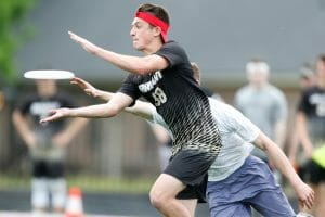 Bryant's Justin Kunkel at the 2019 D-III College Championships. Photo: William 'Brody' Brotman -- UltiPhotos.com