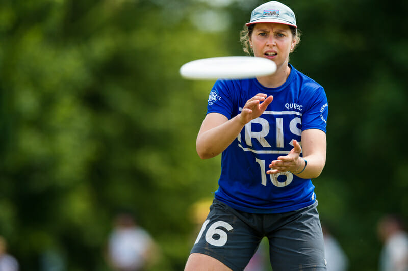 Quebec Iris were one of nine women's teams to join the New York Warmup on the first weekend of sanctioned club play in 2019. Photo: Paul Andris -- UltiPhotos.com