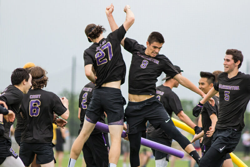 Washington celebrates at the D-I College Championships 2019.