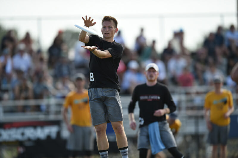 Doublewide's Abe Coffin was perhaps the best player at the 2019 Pro Elite Challenge. Photo: Billy Dzwonkowski -- UltiPhotos.com