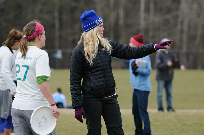 A coach calling a defense to her team. Photo: Kevin Leclaire -- UltiPhotos.com