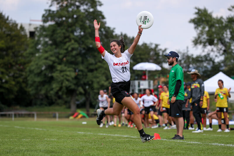 Canada celebrate their power pool victory over Colombia at the 2019 U24 World Championships. Photo: Paul Rutherford -- UltiPhotos.com