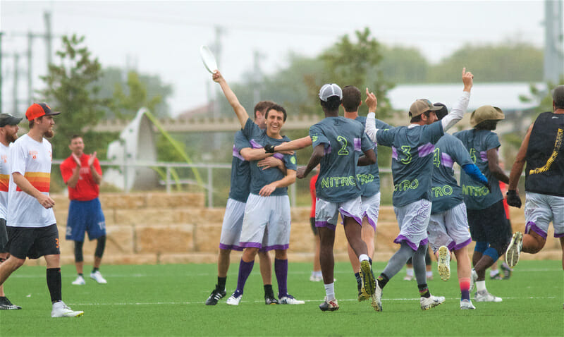 Dallas Nitro, seen here celebrating a 2018 Texas Sectional Championship, won their second straight Texas 2 Finger in 2019. Photo: Conrad Stoll -- UltiPhotos.com