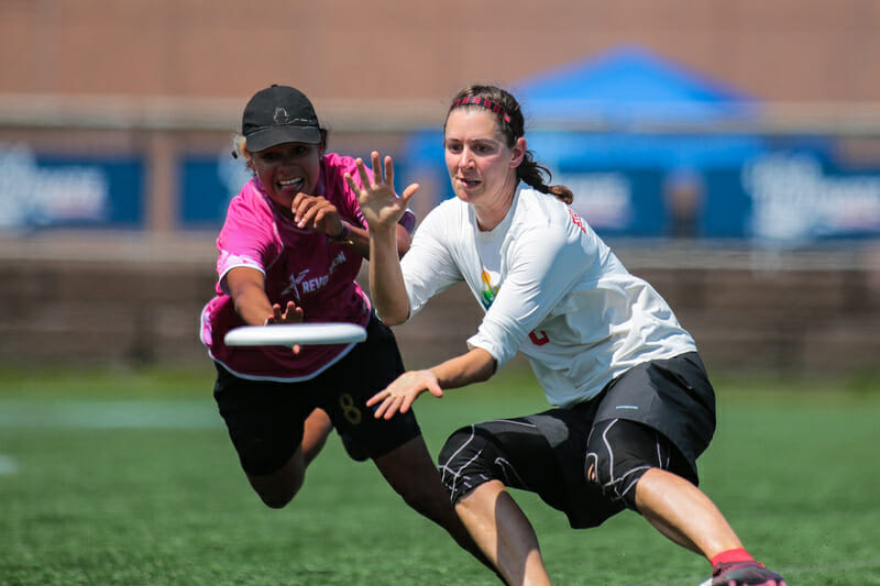 Revolution's Manuela Cardenas goes for the block against Seattle Riot at the 2019 US Open. Photo: Alex Fraser -- UltiPhotos.com