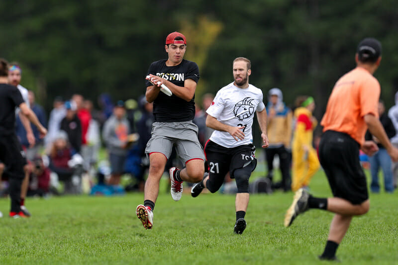 Boston Dig's Mac Hecht and Toronto GOAT's Geoff Powell could both hae a big part to play in another classic matchup between the two rivals at Northeast Regionals this weekend. Photo: Paul Rutherford -- UltiPhotos.com
