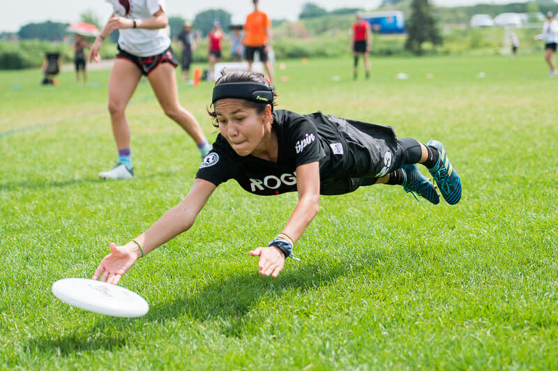 Olivia Arellano of Washington DC Rogue lays out at 2019 Youth Club Championships. Photo: Kevin Leclaire -- UltiPhotos.com