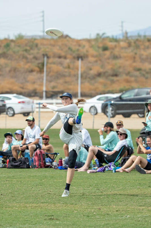 San Francisco Polar Bears' Margot Stert executes an impressive kick spike after catching a goal in the game-to-go at 2019 Southwest Club Regionals. Photo: Rodney Chen -- UltiPhotos.com
