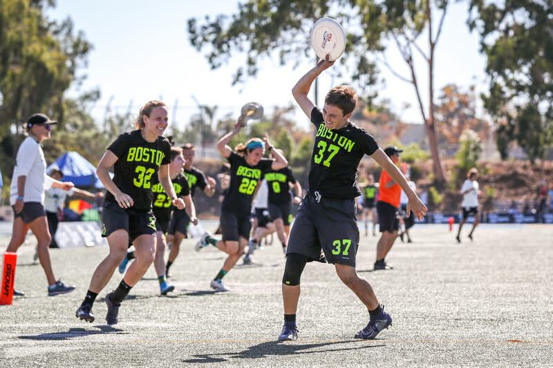 Claire Trop put an exclamation point on Brute Squad's upset of San Francisco Fury in the 2019 Club Championships semifinal. Photo: Paul Rutherford -- UltiPhotos.com