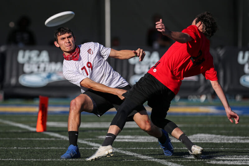 Michael Ing was one of several Philadelphia AMP players shooting deep throughout their semifinal matchup with Fort Collins shame. at the 2019 CLub Championships. Photo: Paul Rutherford -- UltiPhotos.com
