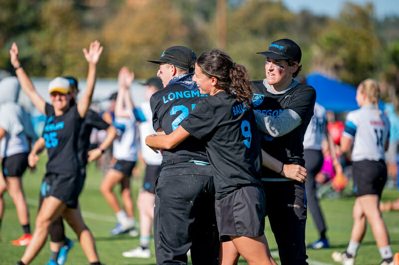 Portland Schwa were one of a couple teams to disrupt the traditional Big Four narrative in the women's division at 2019 Club Championships. Photo: Sam Hotaling -- UltiPhotos.com
