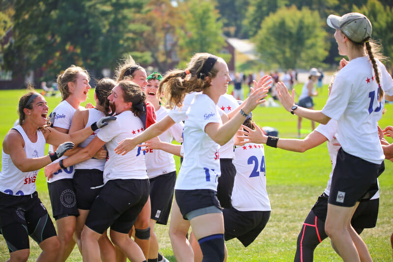 There are few things better than photos of the celebration of a first-time Nationals qualifier, like Boston Siege here at 2019 Northeast Club Regionals. Photo: Bob Durling -- UltiPhotos.com