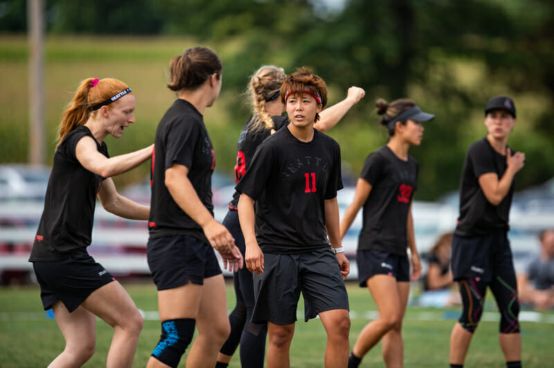 Kaede Yoshida playing with Seattle Riot at the 2019 Pro Championships. Photo: Paul Andris -- UltiPhotos.com